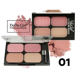 Румяна Do Do Girl 4 COLORS BLUSHER, 4 цвета, ТОН 01